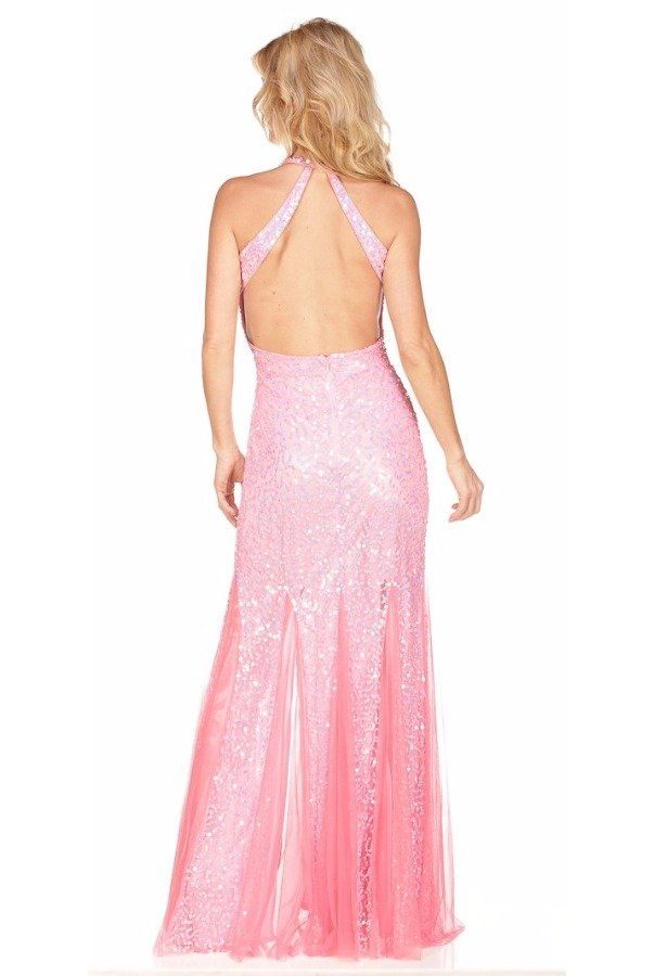 Primavera Couture Pink Sequin Premier Gown slit open back 9873
