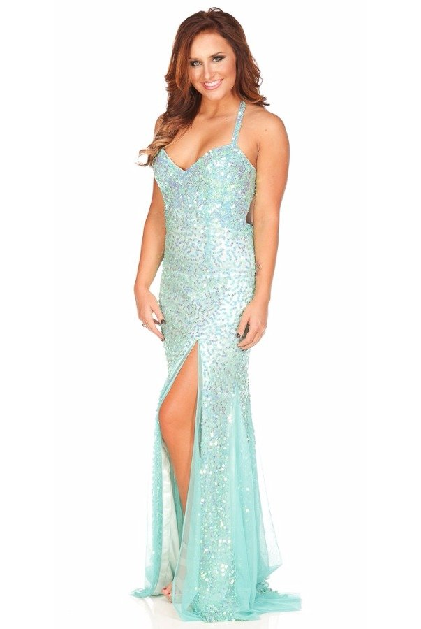 Primavera Couture Sequin Dress Premier Gown in Aqua Mint 9873