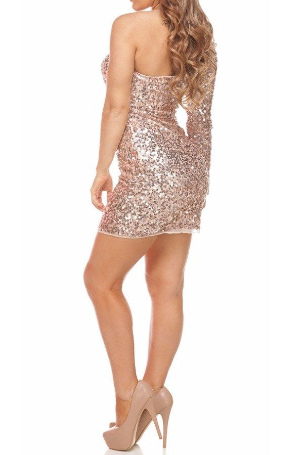 Primavera Couture Gold Sequin Party Dress 9918
