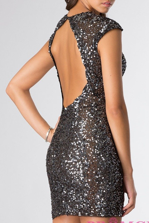 Primavera Shimmery Gunmetal Black Sequin Short Dress 9901