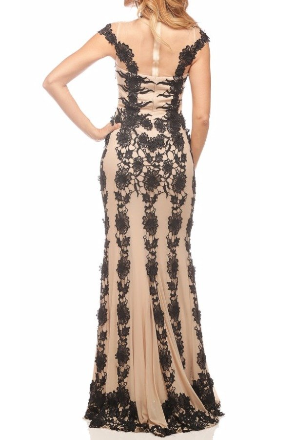 Nika Contrast Floral Lace Illusion Gown 8010