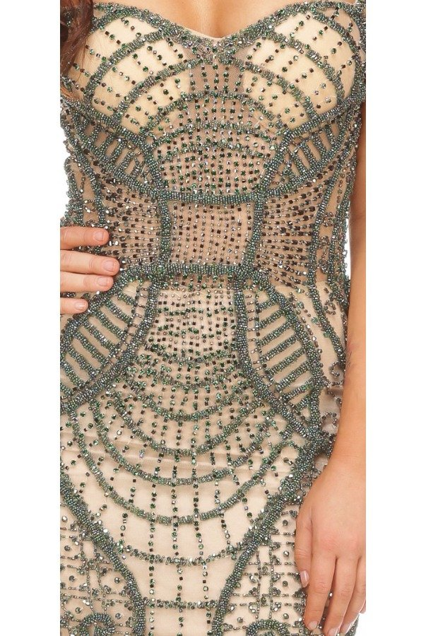 Musani Green Nude Crystal Beaded Cocktail Short Dress