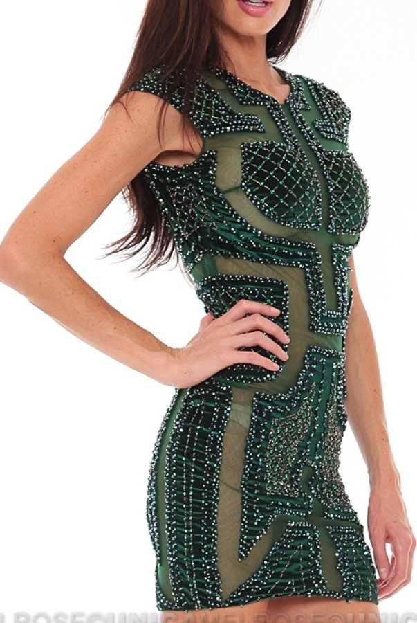 Musani Sheer Sheer Beaded Emerald Dress