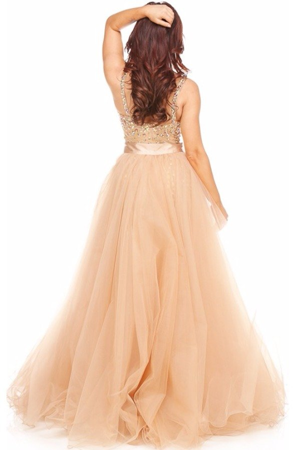 Sherri Hill Detachable Hi Lo Dress Two Piece Nude 21103