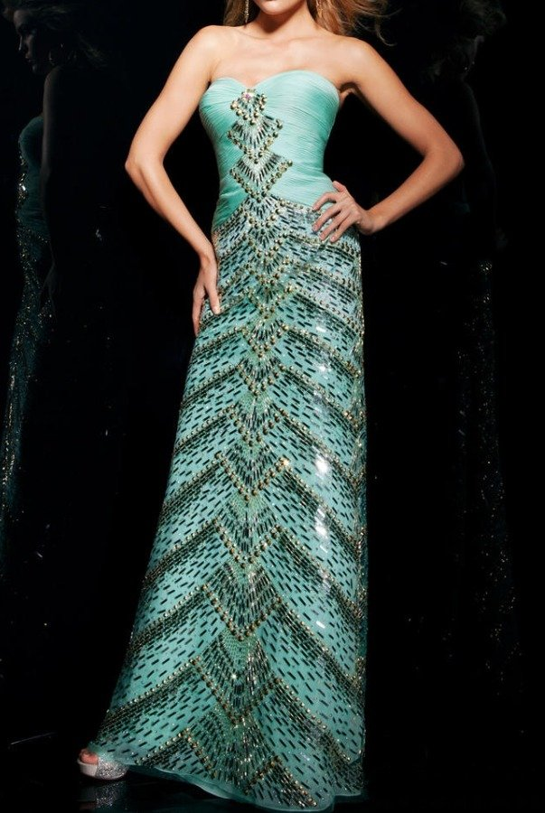 Tony Bowls Ritzy Sweetheart Beaded Mint Evening Gown TBE11300