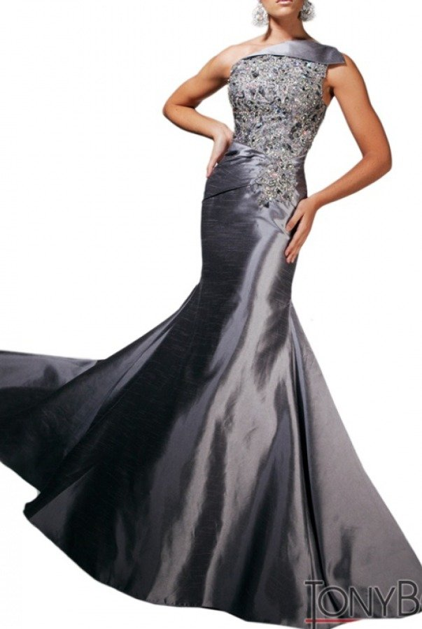 Tony Bowls Lustrous Silver One Shoulder Dress Gown TBE11311