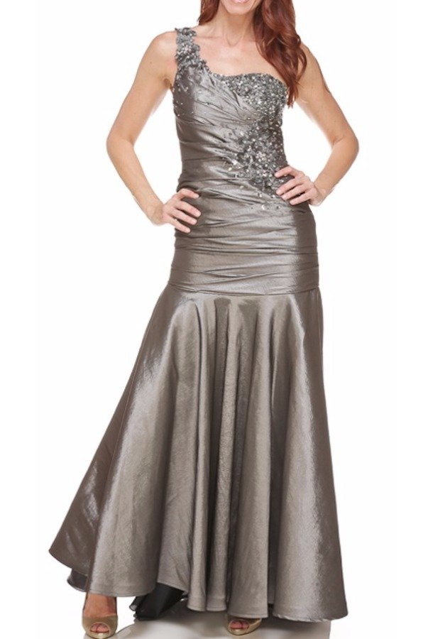Tony Bowls Silver Mermaid Ruched Formal Dress Mother of Bride Prom