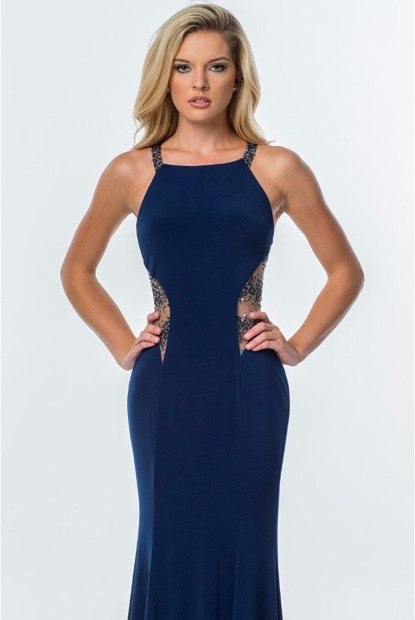 Terani Couture Navy Sheer Cutout Gown Dress P0082A