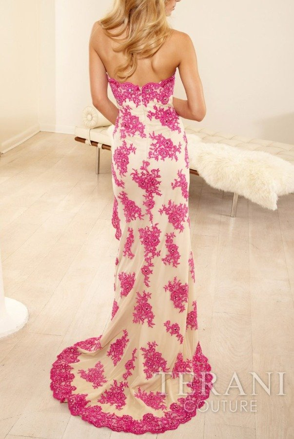 Terani Couture Floral Pink Nude High Low Gown Dress hi lo P3153