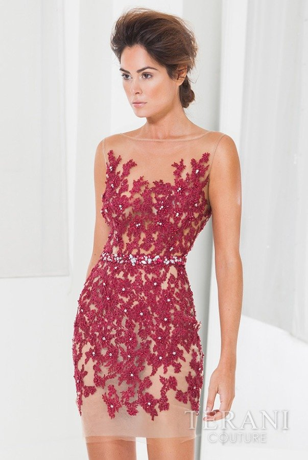 Terani Couture Floral Illusion Wine Burgundy Cocktail Dress C3701