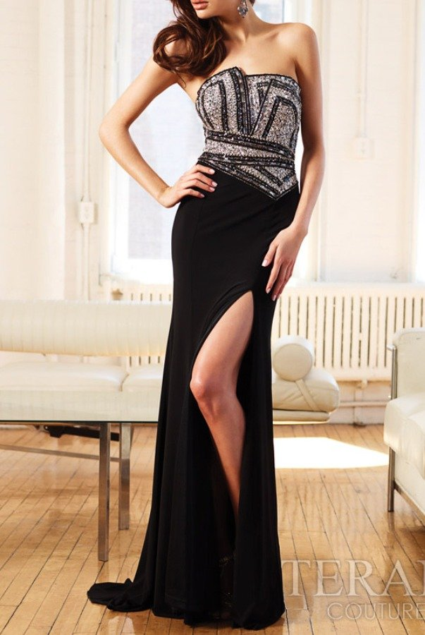 Terani Couture Strapless Jeweled Evening Gown Dress 11260J
