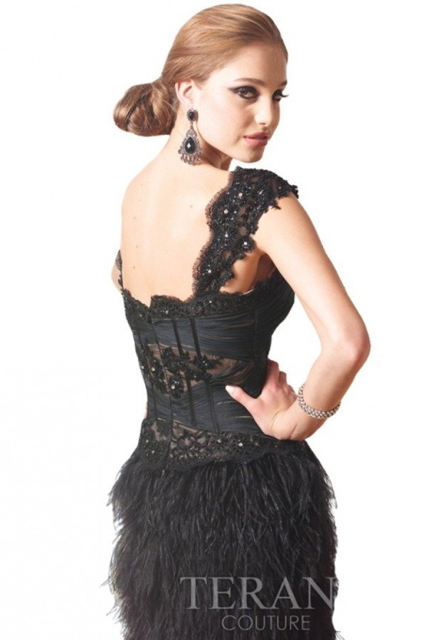 Terani Couture Lace and Feather Black Corset Dress 11148C