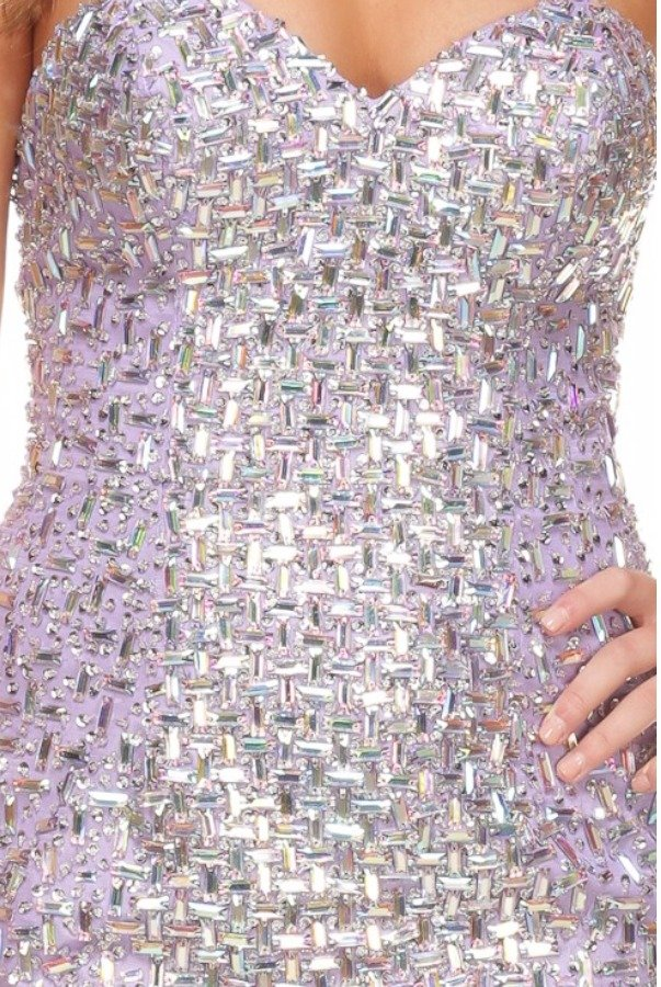 Terani  Crystal Cocktail Dress Silver Lilac H3603