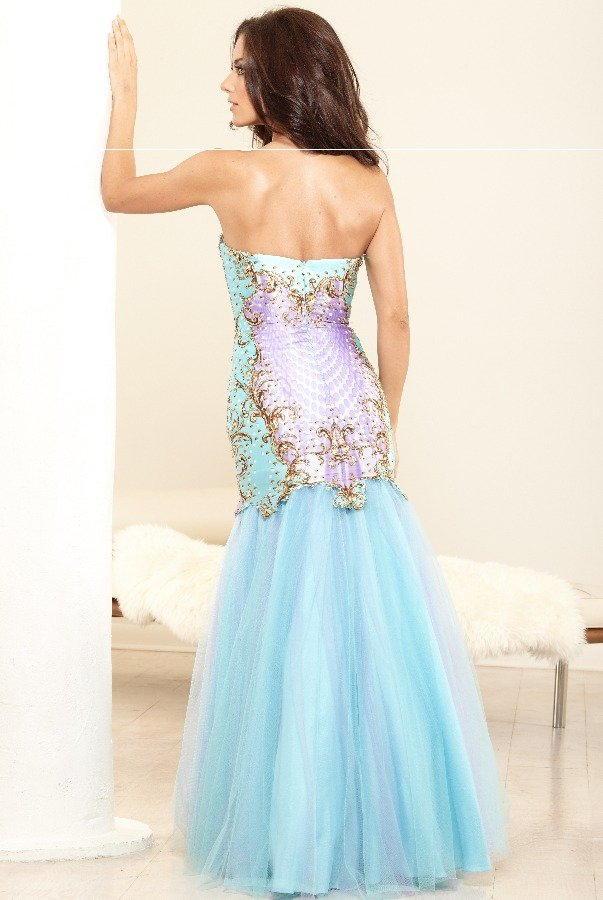 Terani  Aqua Mermaid Gown Dress P3118