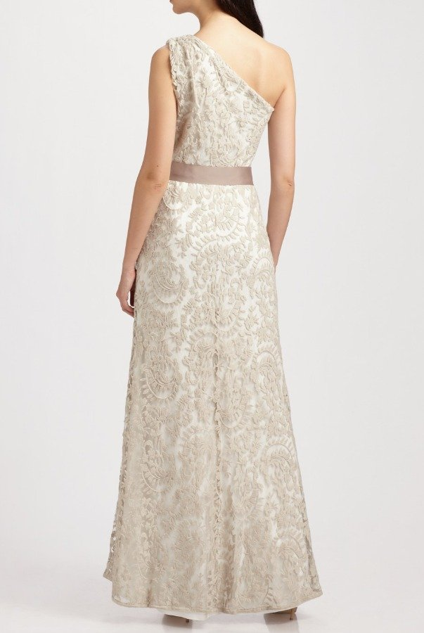 Tadashi Shoji Ivory Nude One Shoulder Embroidered Lace Gown