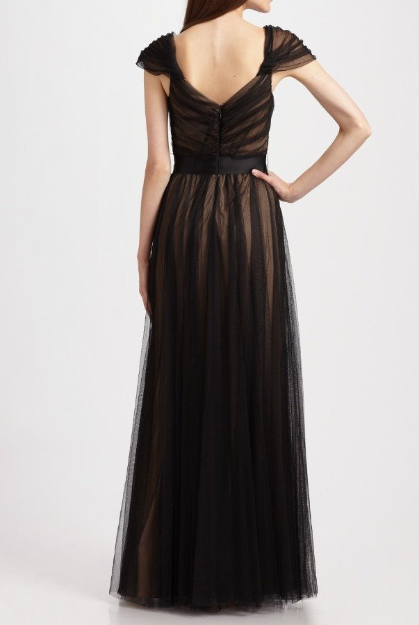 Tadashi Shoji Capped Sleeve Tulle Overlay Gown