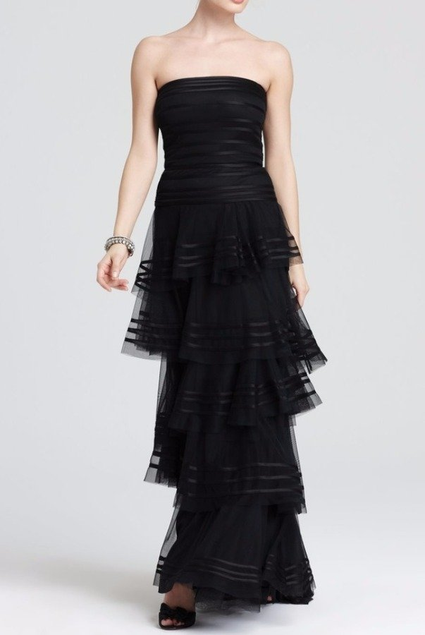 Tadashi Shoji Black Strapless Tiered A Line Dress Evening Gown Poshare