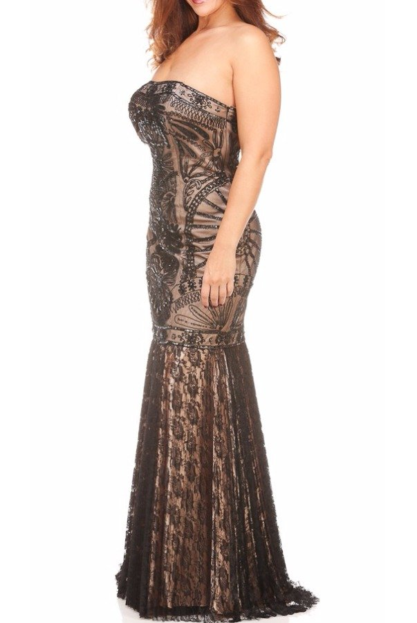 Sue Wong Black Lace Overlay Beaded Gown Evening Dress