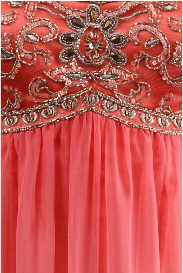 Sue Wong Coral Ombre Long Summer Dress