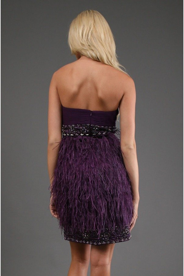 Sue Wong Purple Eggplant Strapless Feather Mini Dress