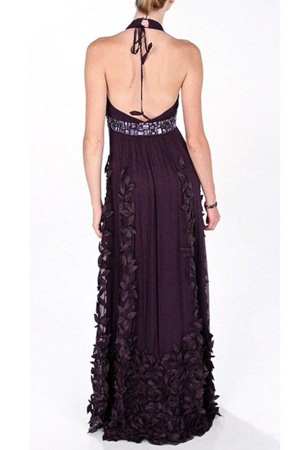 Sue Wong Flower Applique Halter Purple Eggplant Silk Gown