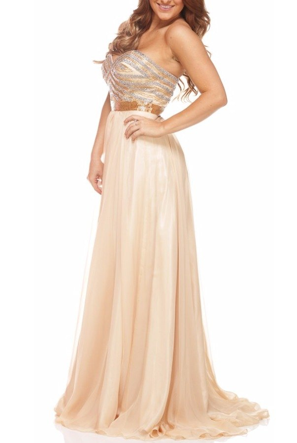 Shail K 3902 Beaded Gold Nude Strapless Dress Gown