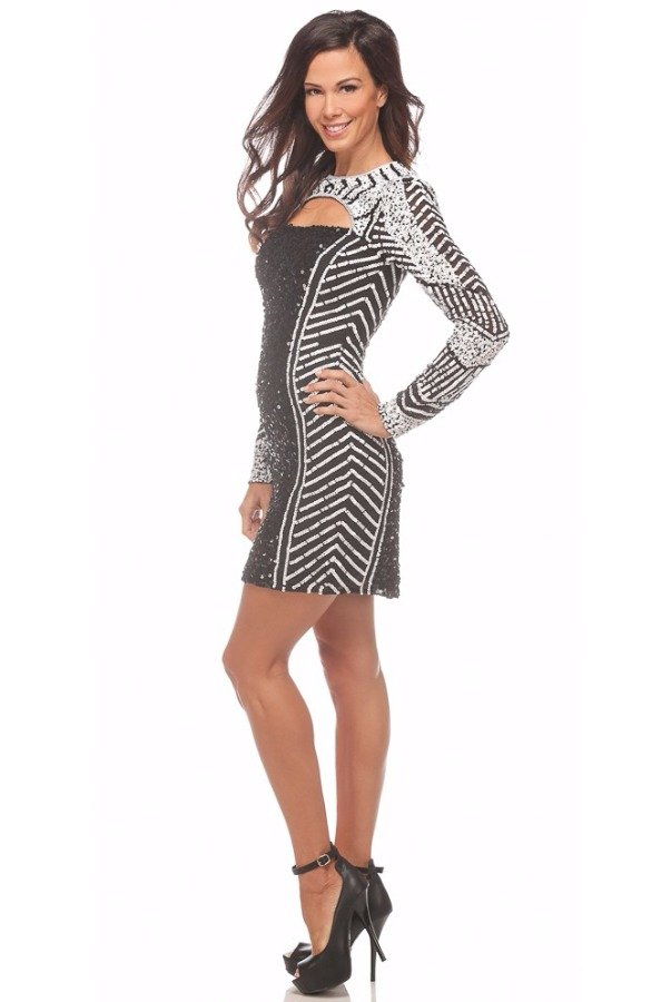 Shail K Sequined Black and  White Contrast Cocktail Dress