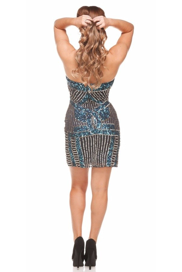 Shail K All Over Sequin Navy Aqua Short Cocktail Dress 3450