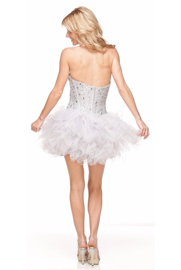 a55f235f13c80 Sherri Hill Corset Tutu Style Ruffled Mini Dress Silver White | Poshare