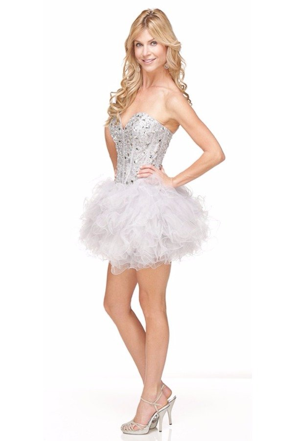 Sherri Hill Corset Tutu Style Ruffled Mini Dress Silver White