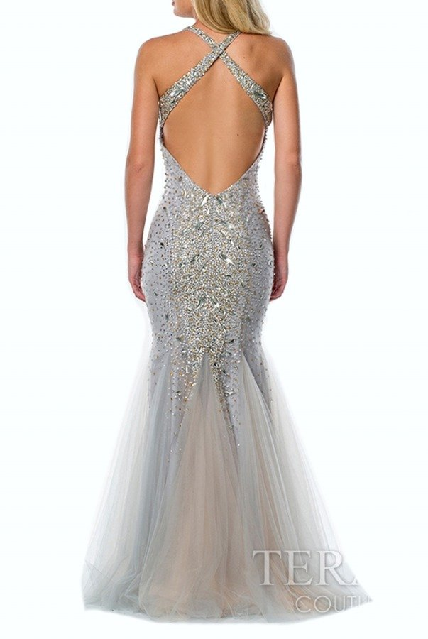 Terani Couture Embellished Silver Open Back Gown Dress 151P0119