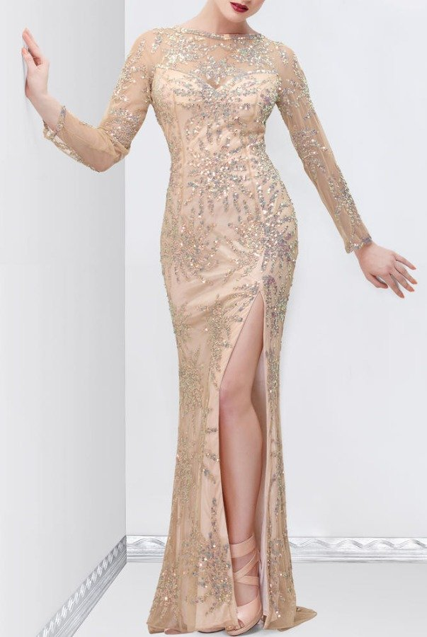 Primavera Couture 9844A Long Sleeve Sequin Beaded Gown in Nude