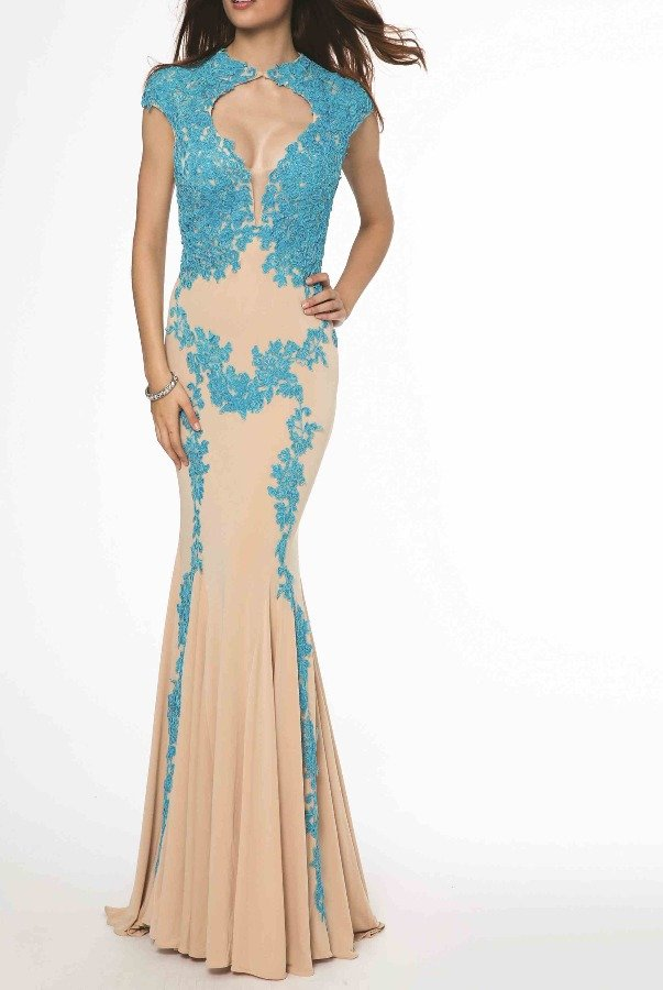 Jovani Nude Blue Lace Jersey Long Formal Dress Gown 89902