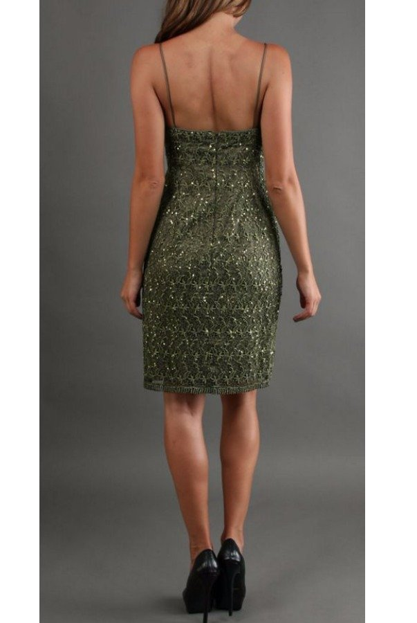 Adrianna Papell Olive Green Crochet Lace Sequin Dress
