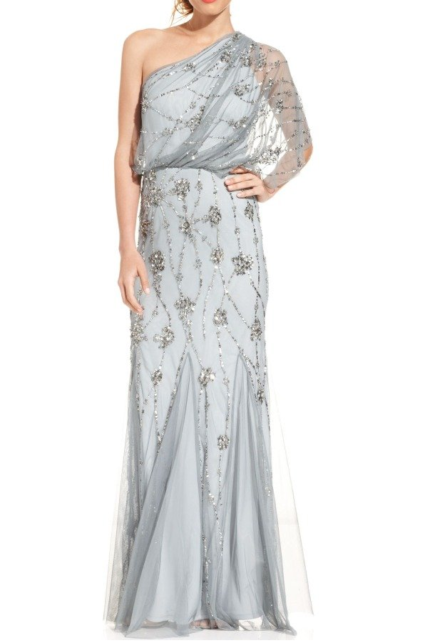 Adrianna Papell Light Gray Silver One Shoulder Beaded Chiffon Gown
