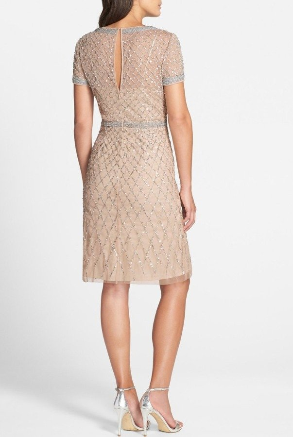 Adrianna Papell Champagne Beaded Woven Sheath Dress