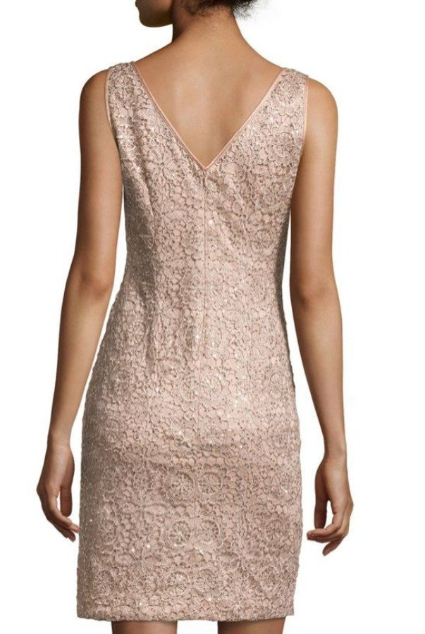 Adrianna Papell Rose Gold Metallic lace Sequin Dress