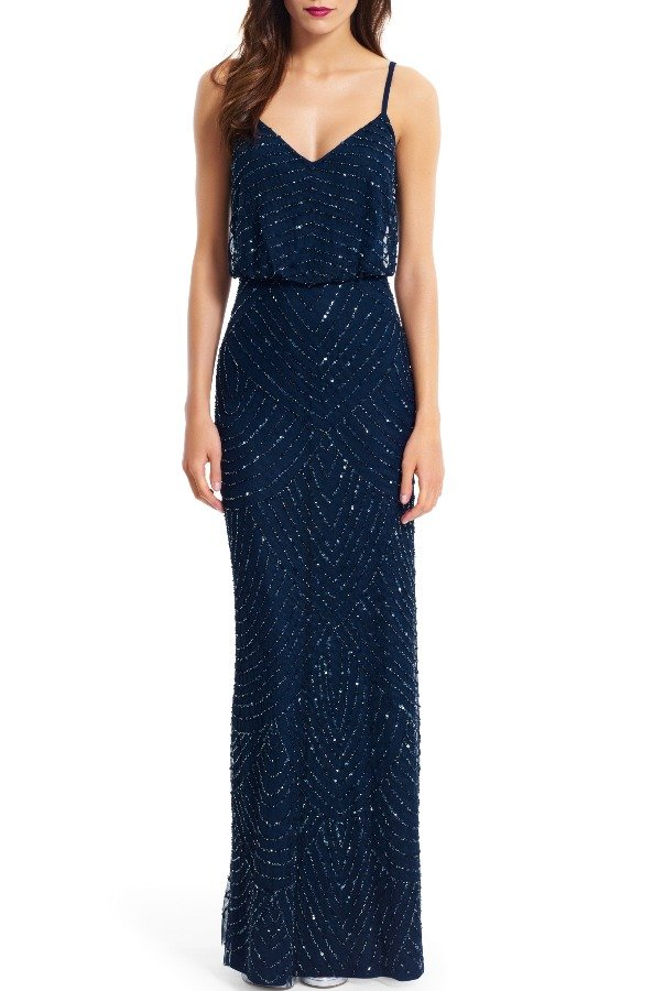 Adrianna Papell Sequin Embellished Blouson Gown Navy Ink blue