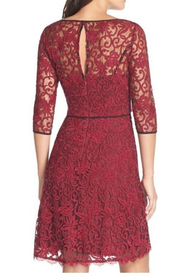 Adrianna Papell Illusion Lace Fit Flare Dress Red Black Burgundy