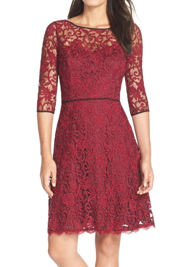 Adrianna Papell Illusion Lace Fit Flare Dress Red Black