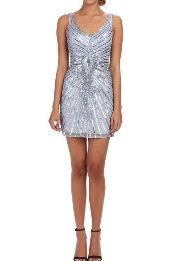 Aidan Mattox Silver Sequin Beaded Cocktail Dress with Diamond Motif