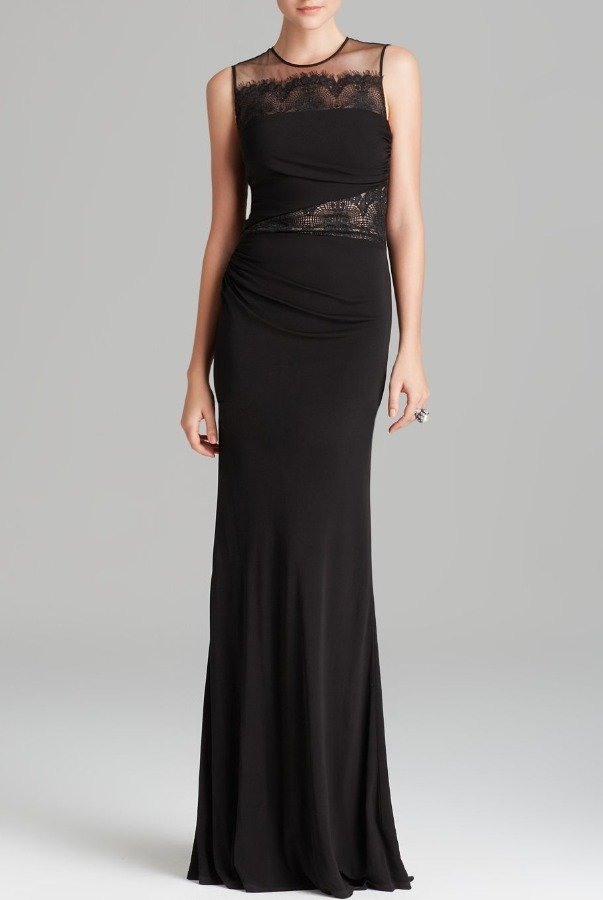 David Meister Black illusion Lace-Inset Jersey Gown dress
