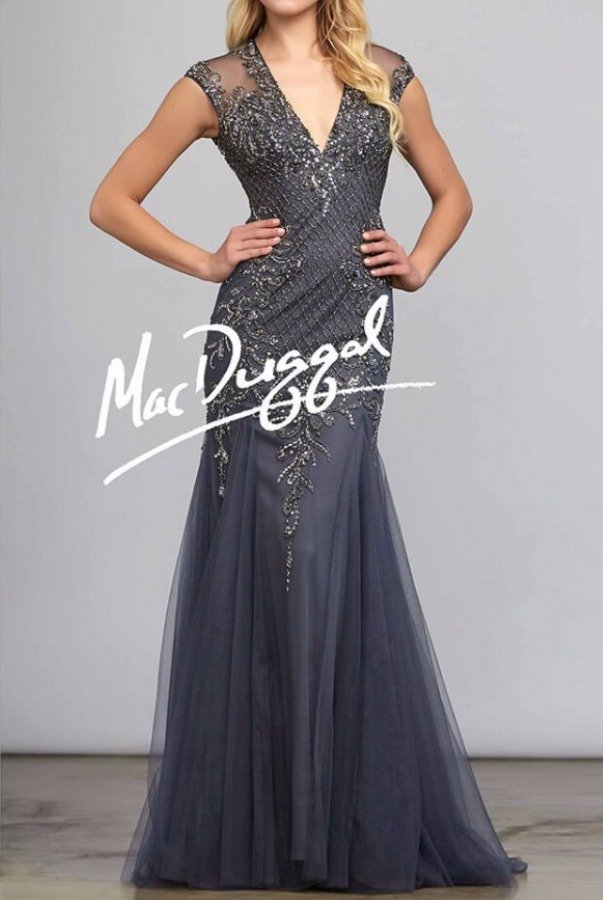 Mac Duggal Tulle Cap Sleeve Beaded Charcoal gown dress 82119D