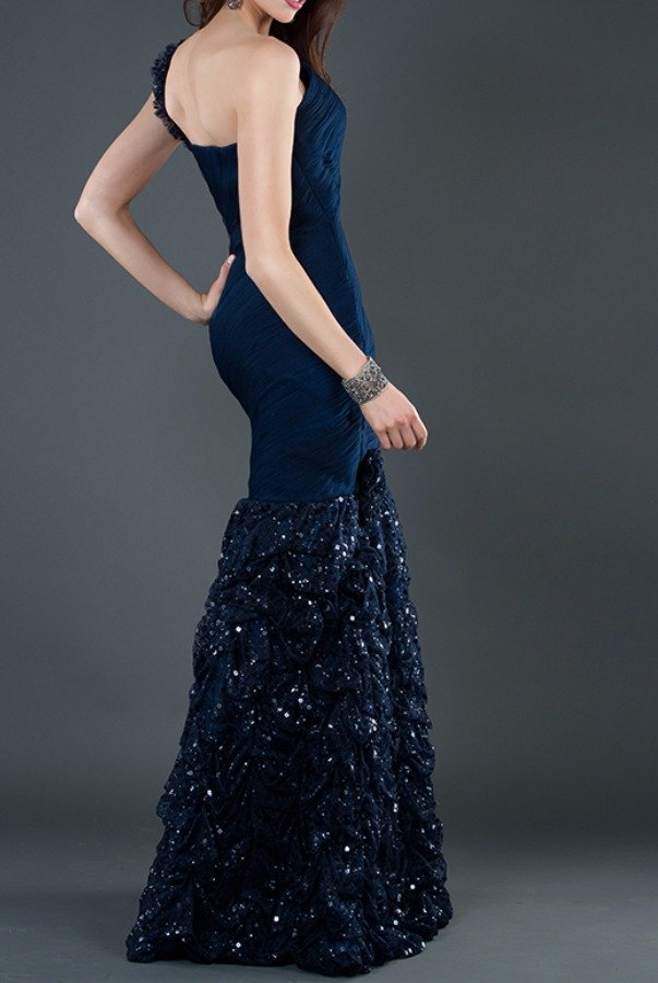 Jovani Navy Blue Beaded Mermaid One Shoulder Gown Dress 5135