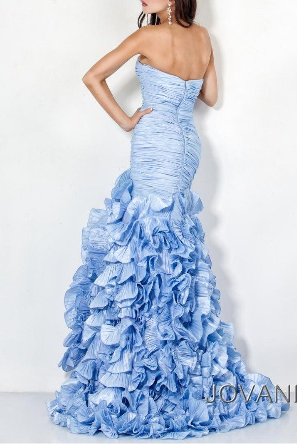 Jovani Strapless sweetheart gown dress sky blue 7361