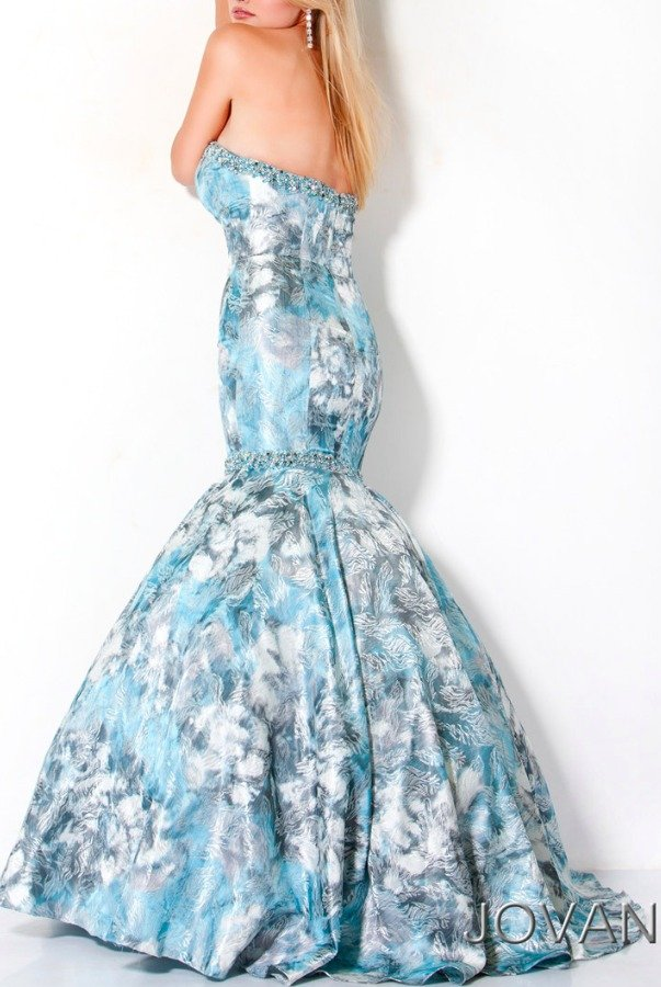 Jovani Mermaid Light Blue Floral Gown Dress 173325