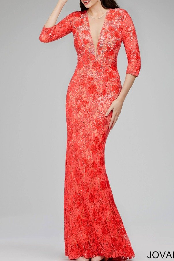 Jovani Long Sleeve Lace Dress Gown 26541 in Coral | Poshare