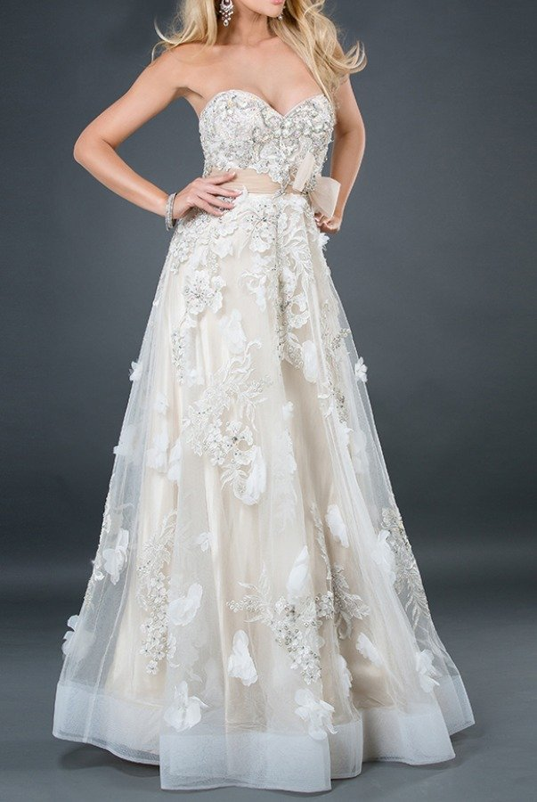 Jovani 2934 IVORY NUDE WEDDING PAGENT BOHO STYLE GOWN Dress
