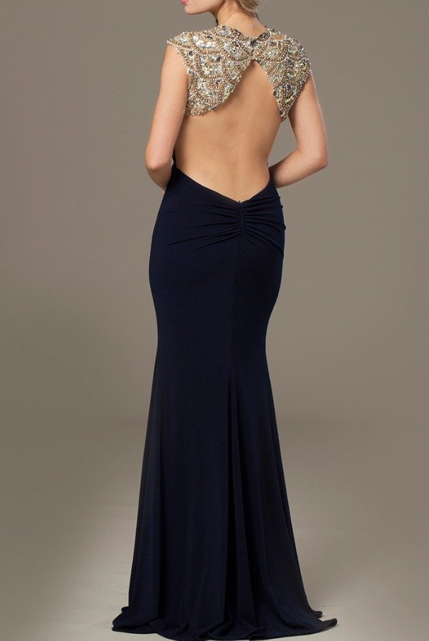 Jovani NAVY CAP SLEEVE HIGH NECK OPEN BACK GOWN 23102