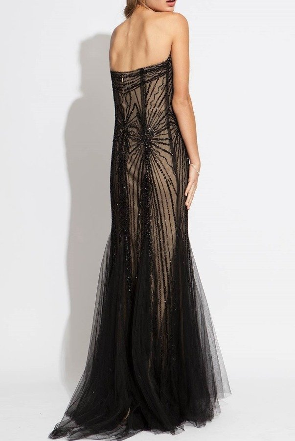 Jovani 89801 Beaded Mermaid Dress with Tulle Overlay Black